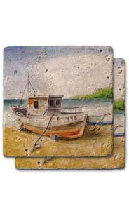 Docked Boat Stone Coaster Set