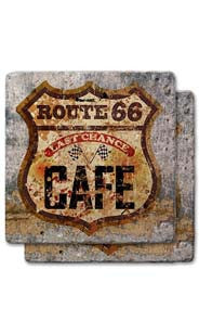 Route 66 Café Stone Coaster Set