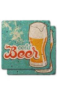 Cold Beer Stone Coaster Set