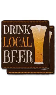 Drink Local Beer Stone Coaster Set