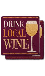 Drink Local Wine Stone Coaster Set