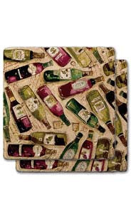 Wine Bottles Stone Coaster Set