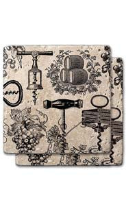 Barrels, Grapes & Corkscrews Stone Coaster Set