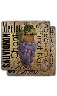 Red Wines Stone Coaster Set