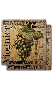 White Wines Stone Coaster Set