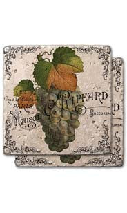 Green Grapes Label Stone Coaster Set