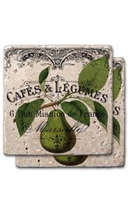 Pear Label Stone Coaster Set