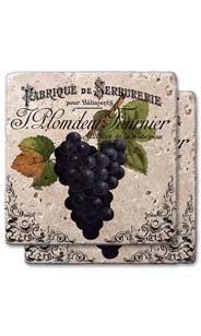 Purple Grapes Label Stone Coaster Set
