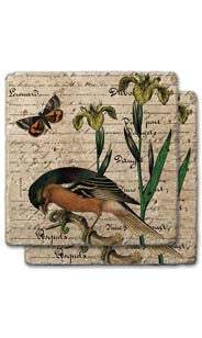 Bird & Butterflies Stone Coaster Set