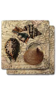 Gulf Shells Stone Coaster Set
