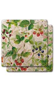 Berries & Floral Stone Coaster Set