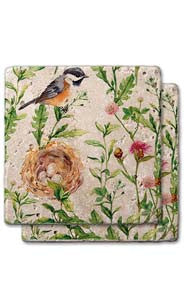 Bird & Nest Stone Coaster Set