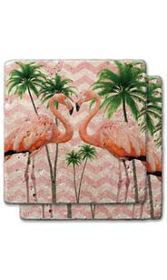 Kissing Flamingos Stone Coaster Set