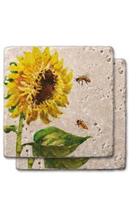 Sunflower & Bees Stone Coaster Set