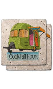Cocktail Hour Stone Coaster Set