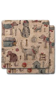 Dogs, Bones & Toys Stone Coaster Set