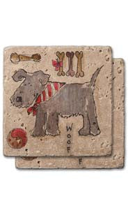 Dog With Scarf Stone Coaster Set