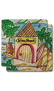 Wine Shack Stone Coaster Set
