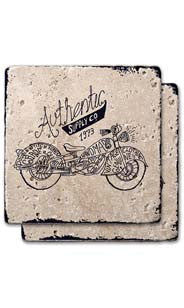 Authentic Motorcycle Stone Coaster Set