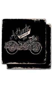 Authentic Moto Black Stone Coaster Set