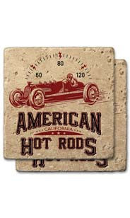 American Hot Rods Stone Coaster Set
