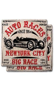 Auto Races NYC Stone Coaster Set