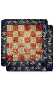 Flag Checkerboard Stone Coaster Set