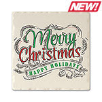 Merry Christmas Absorbent Ceramic Coaster