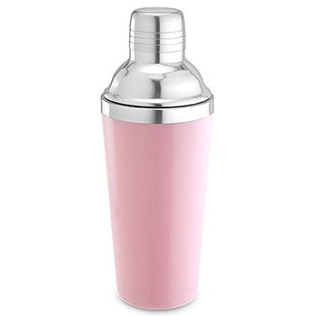 pink cocktail shaker, metal cocktail shaker