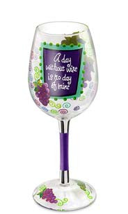 Wine Day Hand-Decorated Wine Glass