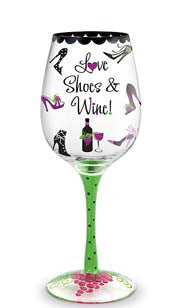 Love Shoes & Wine Hand-Decorated Wine Glass