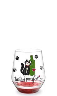 Taste of Purrfection Hand-Decorated Stemless Wine Glass