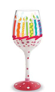 Birthday Hand-Decorated Wine Glass