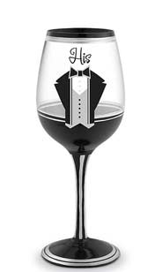 His Hand Decorated Wine Glass