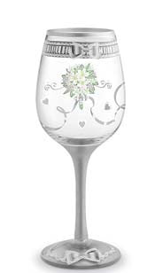 Something New Bridal Hand Decorated Wine Glass