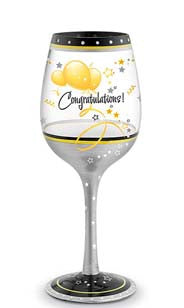Congratulations Hand Decorated Wine Glass