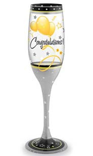 Congratulations Hand Decorated Champagne Flute