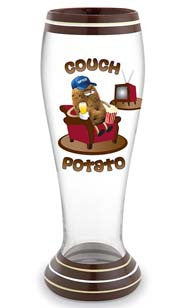 Couch Potato Hand Decorated Pilsner Glass