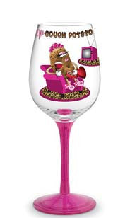 Ms Couch Potato Hand Decorated Wine Glass