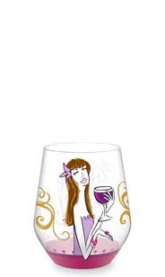 Wine Girl Hand Decorated Stemless Wine Glass