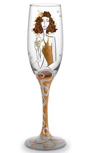 Champagne Girl Hand Decorated Champagne Flute