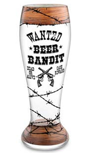 Beer Bandit Hand Decorated Pilsner Glass