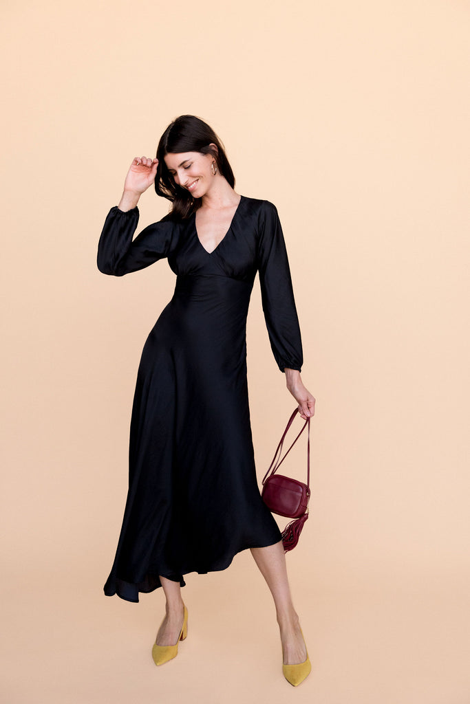 Natasha Dress - Black Satin
