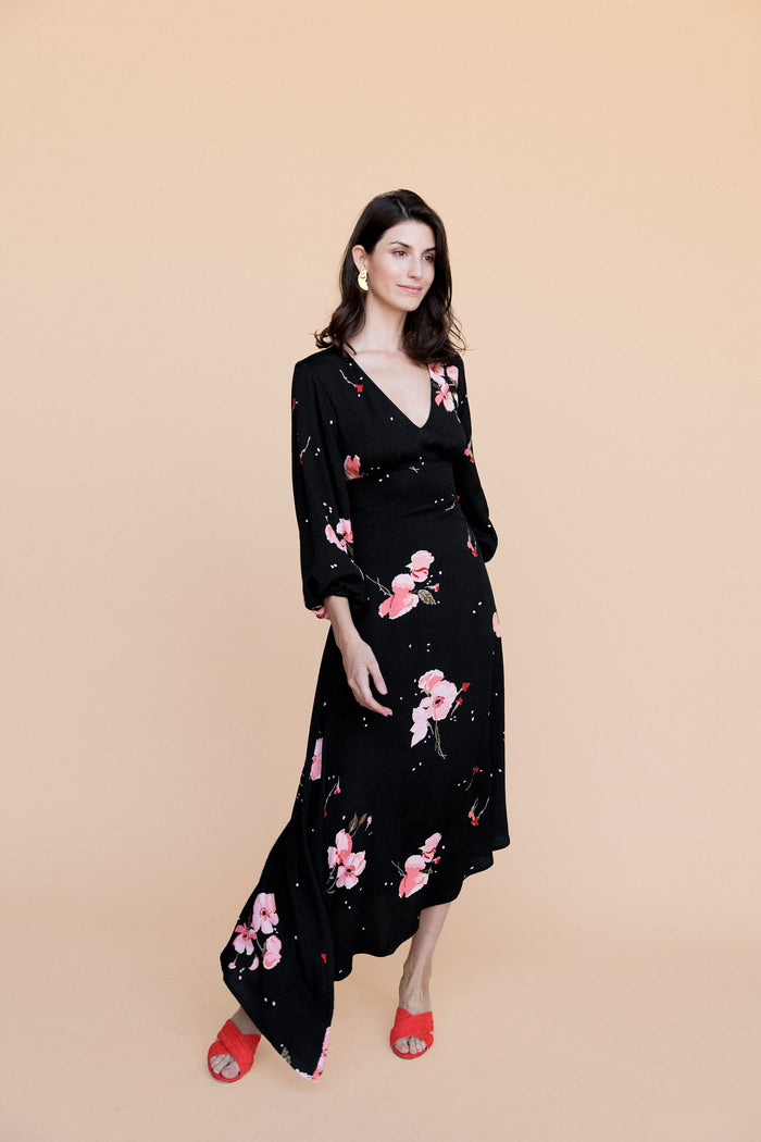 Natasha Dress - Black Floral