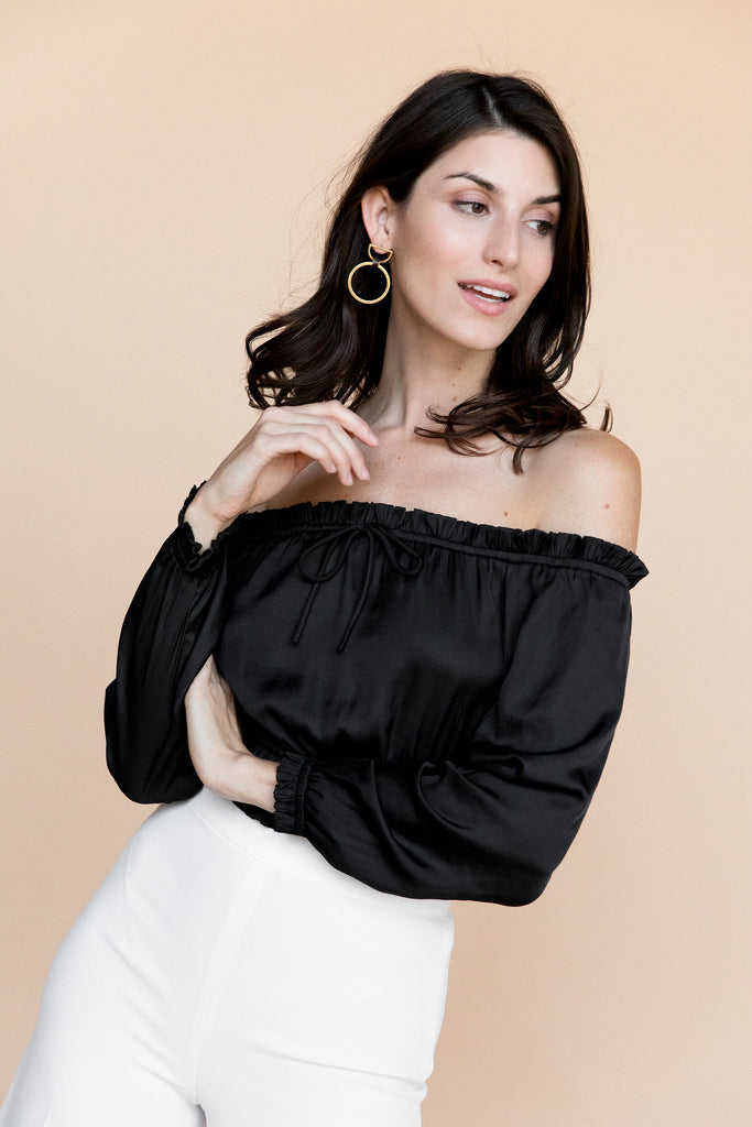 Onyx Blouse - Black Satin