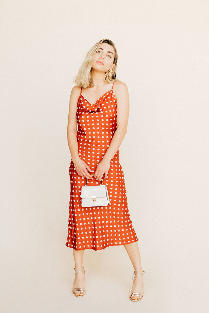 Eleanor Cowl Dress - Red Polka