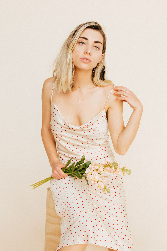 Eleanor Cowl Dress - Ivory Polka