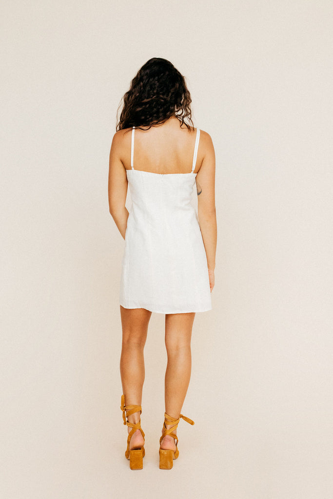 Maria Mini Dress - White Linen