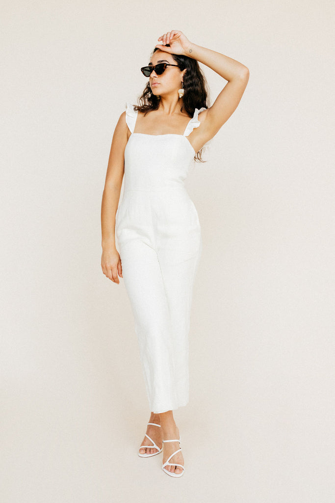 Piper Jumpsuit - White Linen