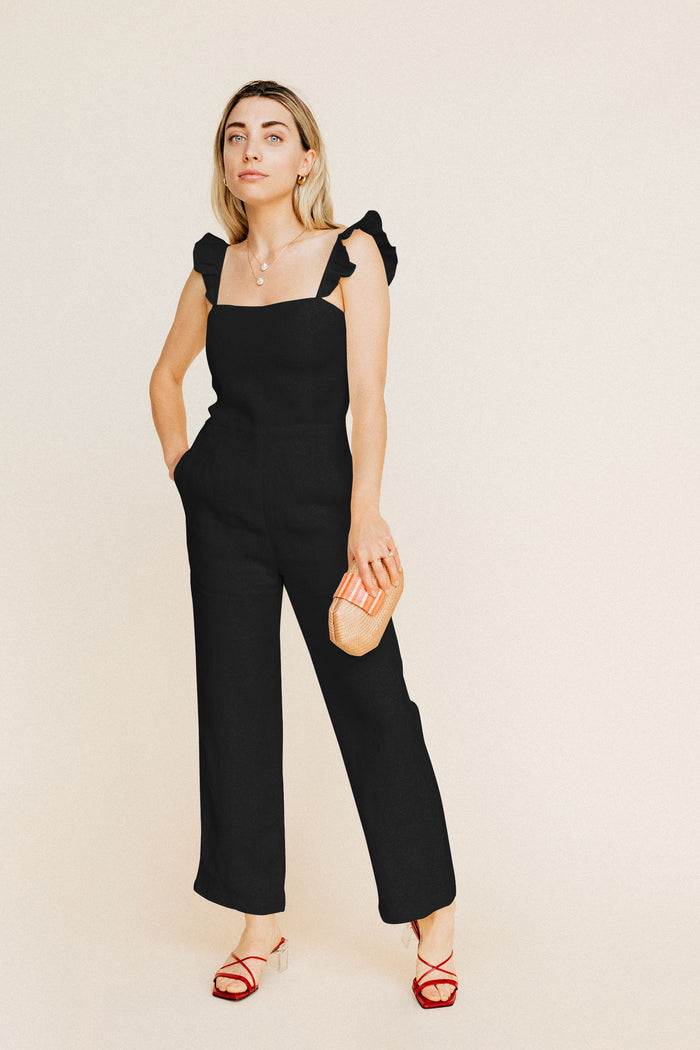 Piper Jumpsuit - Black Linen